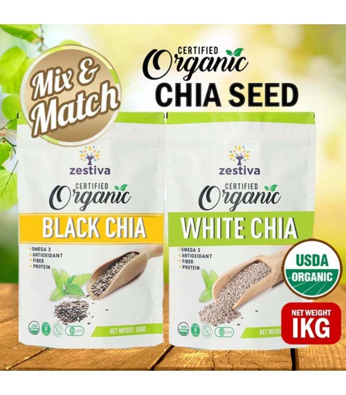 Zestiva Organic Black Chia Seed, (500g) USDA & JAS Certified, Bundle of 2