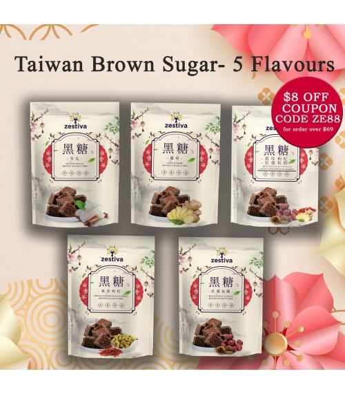 Zestiva Taiwan Brown Sugar Aged Ginger Tea ( 10 cubes), Available in 5 Flavours
