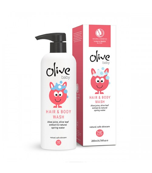 Olive Baby Hair & Body Wash, Natural Certified , 200ml, Plant Based , NATRUE Certified